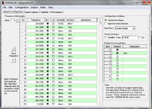 PSREdit120 - Configuration Editor for the PSR-120 Scanner